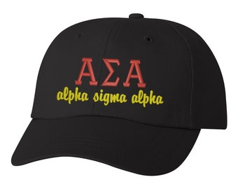 Alpha Sigma Alpha hat ASA cap Alpha Sigma Alpha letters sorority hat big little sorority hat sorority gift big little gift