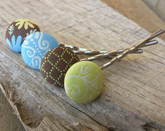 Earth Tones Fabric covered Button bobby pin set Hairpins