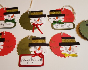 Snowman Christmas Gift Tags ~ Set of 7 Gift Tags ~ Premade Gift Tags ~ Holiday Tags