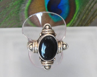 Black Onyx Ring ~ Large Stone Ring ~ Chunky Sterling Silver Statement Ring ~ Black Cabochon Ring - Size 8