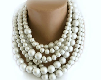 Multi Strand Street Style Pearl Necklace