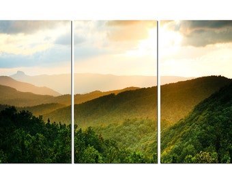 Blue Ridge Mountains Canvas Triptych, 3 Panel Fine Art, LARGE, Ready to Hang