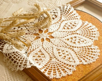 SALE 10% OFF: Pineapple crochet doily Large lace doily crochet White elegant crochet doilies Table decoration Crochet decoration 165