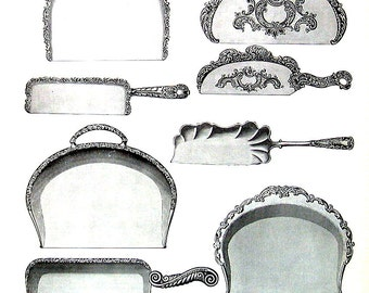 1968 Vintage Book Print - Crumb Trays, Scrapers, Wine Caster, Coolers - Victorian Americana Black and White 2 Sided Page