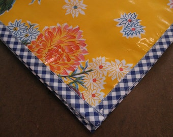 Square Yellow Mum Floral Print Oilcloth Tablecloth