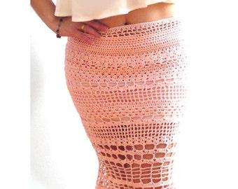 Pink crochet pencil midi skirt- Boho sexy crochet skirt- Handmade elegant knee skirt- Fitted chic women skirt- Ocassion crochet skirt