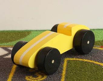 Toy Yellow Race Car with White Stripe - Handcrafted Wood toy yellow race car with white stripe - birthday party favor - Wheels turn freely