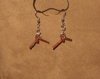 Wood Knot LOVE KNOT Hand Knotted Dangle Earrings