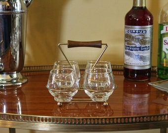 Midcentury Glasses in Caddy, Liqueur Glasses in Brass and Teak Style Holder, Brandy Snifters, Cordials, Small Cocktail Glasses in Carrier