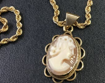 Gold cameo necklace etsy 9ct gold cameo pendant and chain aloadofball Images