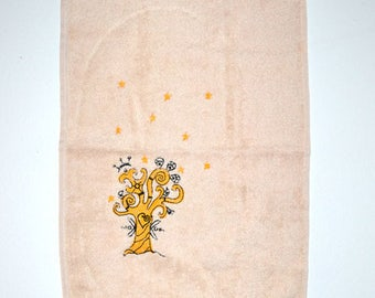 (Towel Terry) Guest Towel - embroidered tree of life-yellow