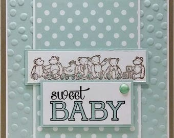 Handmade Baby Shower Card, Stampin Up Card, Baby Boy Shower Card, Teddy Bear Card, Baby Greeting Card, Blue Embossed Card
