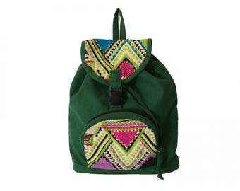 Cloth Backpack with Ethical Embroidery Model Padró Large