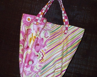 13 x 9 inch-the Little Sis Bag --Coral Pinks Floral Stripes