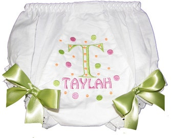 Personalized Baby Girl  Bloomers, Diaper Cover, Panties