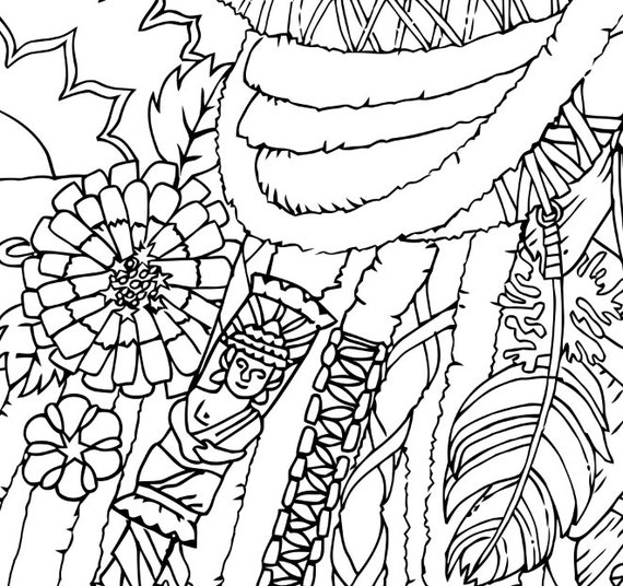 Coloring Page for Adults Dreadlocks Printable art to print