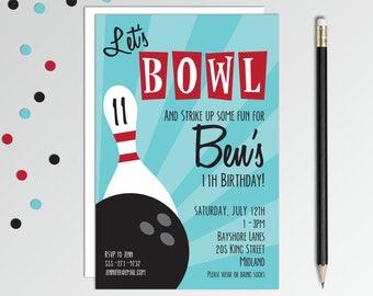 Bowling Birthday Invitation - Bowling Party Invites - Boys Birthday Invitation - Printable Birthday Invitation Set - Boys Birthday Party