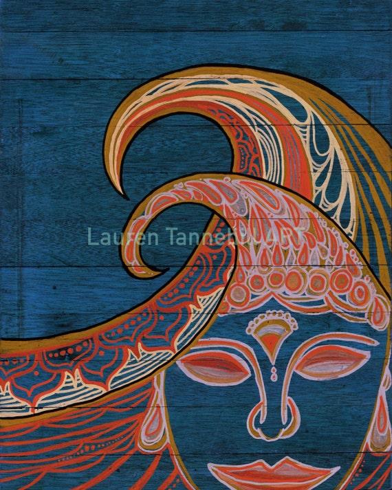 8x10 Giclee Print Bohemian Zen Waves Surf Art with Buddha Siddhartha by Lauren Tannehill ART