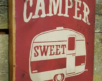 Camper Sweet Camper, Rustic, Antiqued, Western, Camping, Wooden Sign
