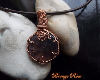Handmade OOAK copper wire wrapped ametrine necklace