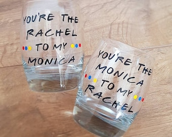 Friends TV Show, Friends Glass, Gift, x1 glass, Handmade, Personalised, Monica and Rachel
