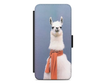 Llama scarf wallet iPhone case | Leather wallet phone case | Wallet Samsung case | iPhone X flip wallet case | 1MW006