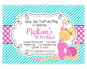Gymnastic Invitation - Teal Turquoise Stripes and Pink Polka Dots, Girl Gymnast Personalized Birthday Party Invite - Digital Printable File