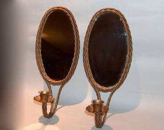 8306: Vintage SET 2 Italian Tole Rope Wall Sconce Mirrors Candle Holder Gold Gilt Hollywood Regency at Vintageway Furniture