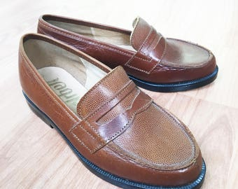 70's Vintage Brown Leather Penny Loafers New Old Stock Made in France EU 29