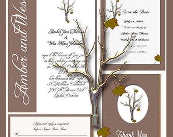 Fall Tree Design Wedding  Invitation Package Editable Download