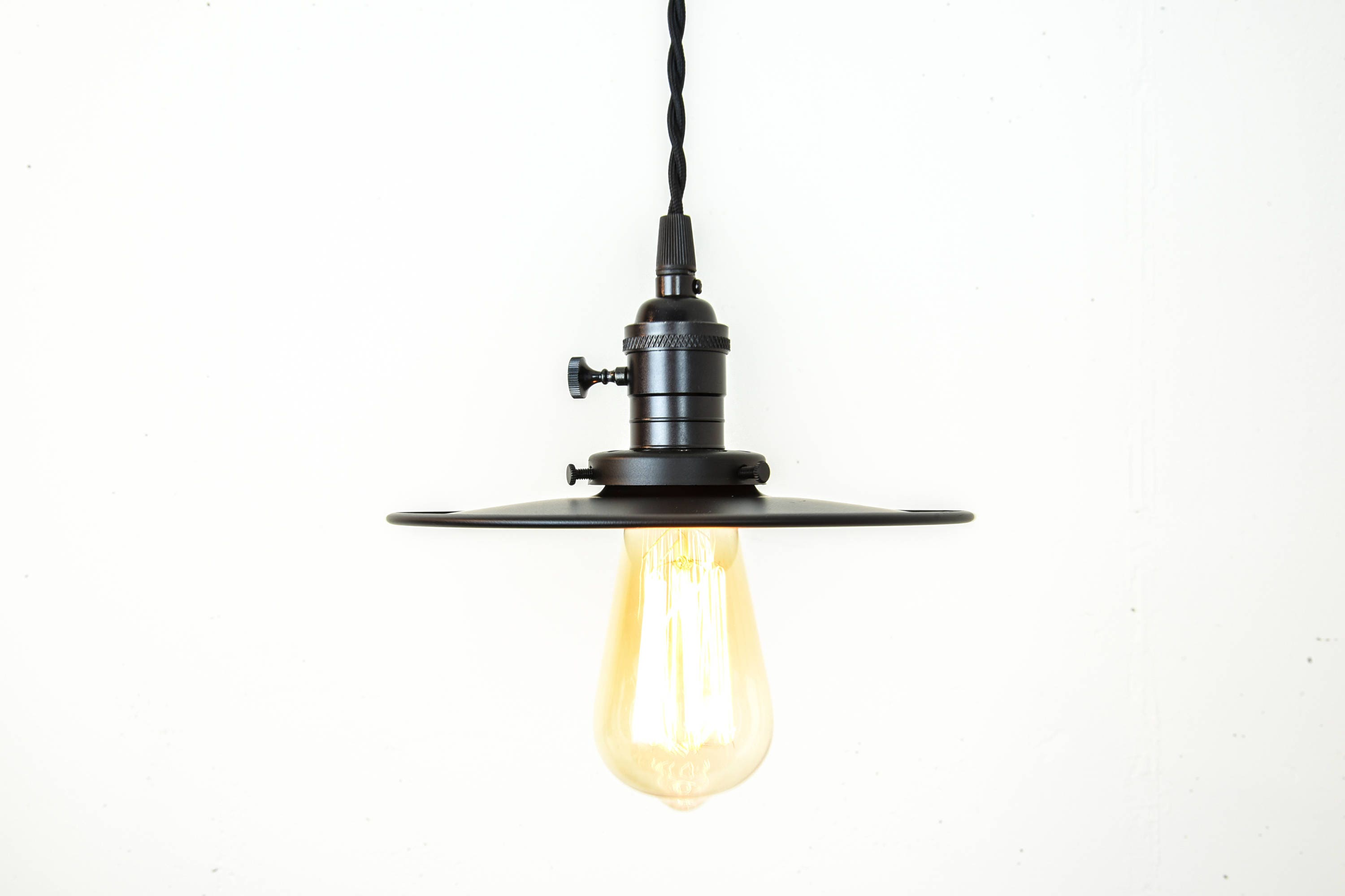 plug in industrial lighting. Industrial Lighting - Black Pendant Lights Farmhouse Light Flat Shade Matte Rustic Plug In Edison Bulb I