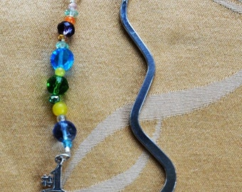 """On sale Pretty Handmade """"#1 Mama"""" Beaded Bookmark, Sterling Charm, Multi-Colored Beads, Mother's Day"""