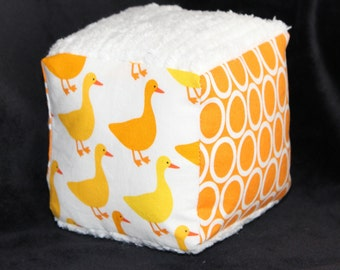White Geese and Chenille Fabric Block Rattle