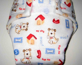 Baby Doll Diaper-Cute Dog holding His Bone-Adjustable(Cloth) Fits Bitty Baby Alive, Cabbage Patch Dolls and More