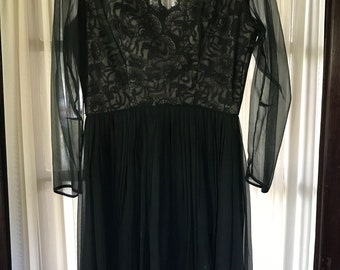 Exquisite Black Lace and Chiffon vintage dress