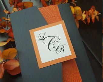 Modern Linen Grey and Tangelo Orange Tri Fold Wedding Invitation