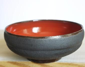 Rustic black ceramic bowl, unglazed black clay, black and red bowl, decorative bowl, elegant serving bowl, Minimalist bowl