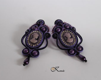 Unique dark lavender cameo soutache dangle earrings - hand embroidered jewelry - Victorian style - perfect gift for her