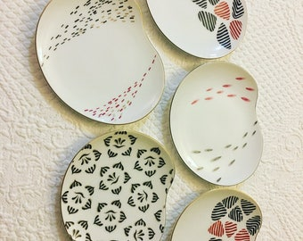 Midcentury Modern Fred Roberts Co. 5pc Plate Set / Snack Plates / Entertaining / Gold Rimmed Dinnerware / MCM