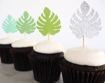 READY TO SHIP! Monstera cupcake toppers | Cupcake picks | Tropical party | Luau party | Moana toppers | Hawaiian party decor | Wild one
