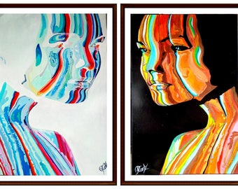 Diptych view 1 + 2 paintings modern colorists with acrylics on paper grain canvas.