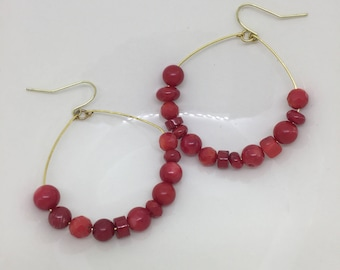 Hoop Earrings / Red Earrings / Large Hoop Earrings / Beaded Hoop Earrings / Boho Earrings / Dangle Earrings / Statement Earrings / Earrings