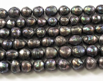 8-9 mm Faceted Irregular Rice/Oval Freshwater Pearl Beads Dark Peacock Color, Limited Edition Genuine Faceted Rice Pearl Beads (399-FRP0809)
