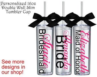 SALE!!! Personalized Bridesmaid Slim Tumbler Gift Bridesmaid Maid of Honor Gifts Personalized Bridesmaid Gift