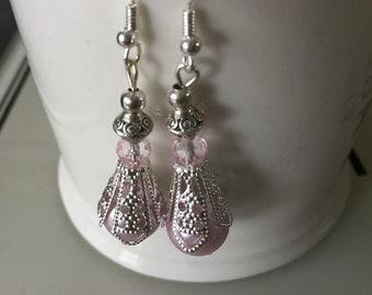 Filigree Victorian Pearl Crystal Earrings