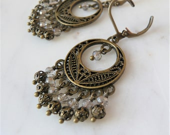 Crystal And Antiqued Brass Filigree Chandelier Earrings