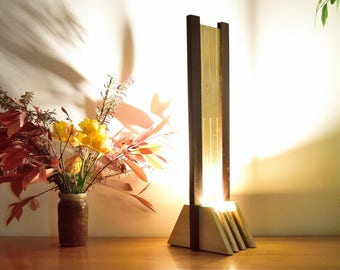 Olied Ipe and Varnished Tulip Tree Wood Lamp