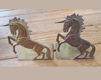 Vintage Brass Unicorn Bookends Fantasy Decor Bomel Collection