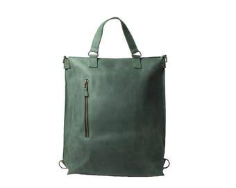 Women backpack purse, everyday bag, leather bag women, shoulder bag women, MacBook bag, convertible backpack,leather work bag,green backpack