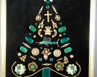 Green and gold vintage jewelry Christmas tree framed art; swordfish, cross, roses and hearts